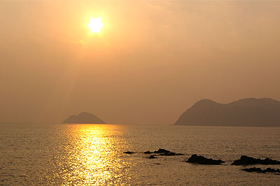 地元の海岸の夕焼け